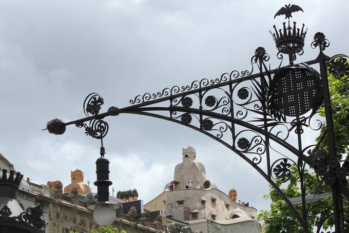 I like how the lamp post frames the Gaudi rooftop structures.