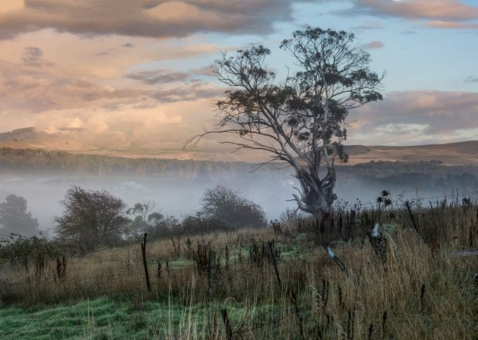 Autumn mist slowly drifts from the valley.