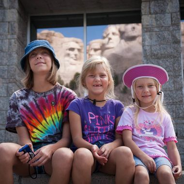 While visiting the monument with my nieces, I captured this photo of them at the amphitheater.  Future presidents?