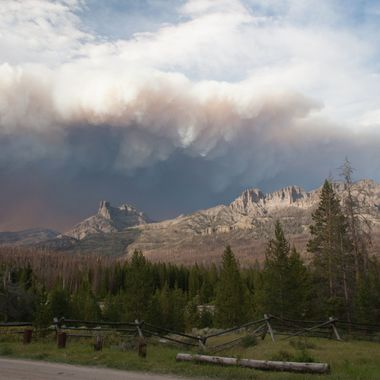 This photo was taken from a campground near Dubois, Wyoming during an active wildfire.