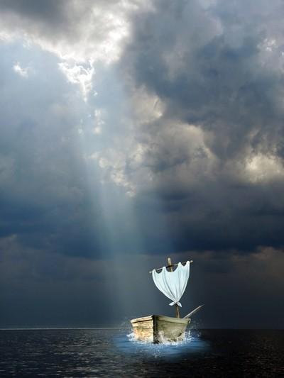 A white sail gleams In the mist blue sea...   The shore of the Gulf of Finland, Kotlin island.