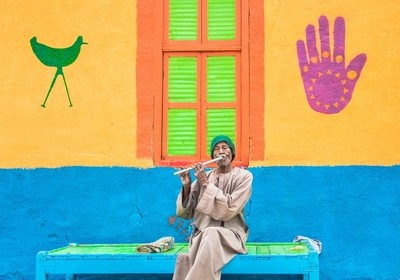 Nubian flute player