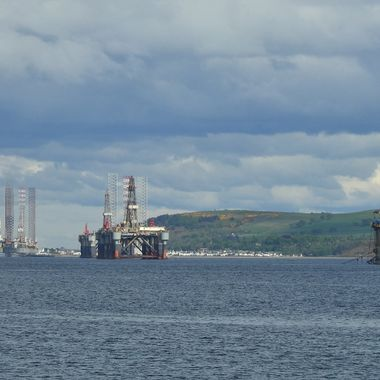 Cromarty and Oil Rigs in storage