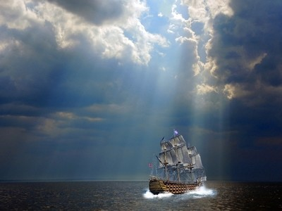 Before the storm. Rays of heavenly light. The shore of The Gulf of Finland, Kotlin island. ...and I was added the ship of my imagination...