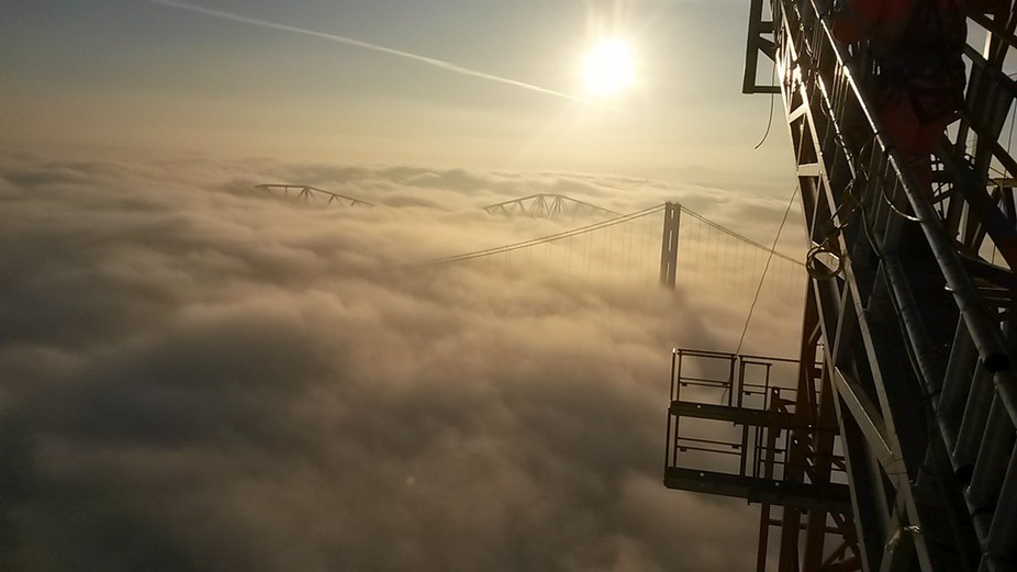 Taken from the top of Tower crane on South Tower of the Queensferry Crossing
