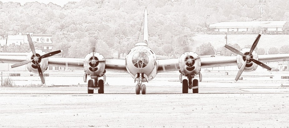 This is a picture of FIFI the B-29 bomber. One of the only B-29 bombers still still flying.
