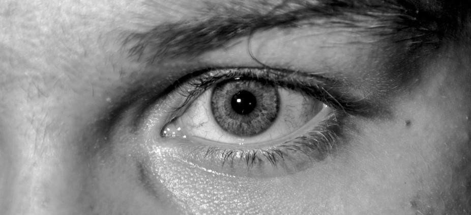 Macro shot of my eye. Black And White image