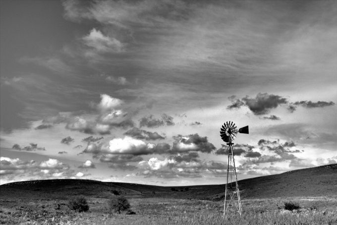 Windmill Senic Byway BW by kathyzeckser - Windmills Photo Contest