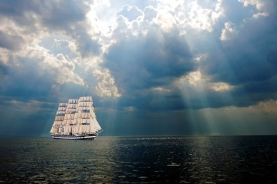 In search of storms in the rays of heavenly light... The shore of The Gulf of Finland, Kotlin island. ..On the photo I have added a ship of my imagination...