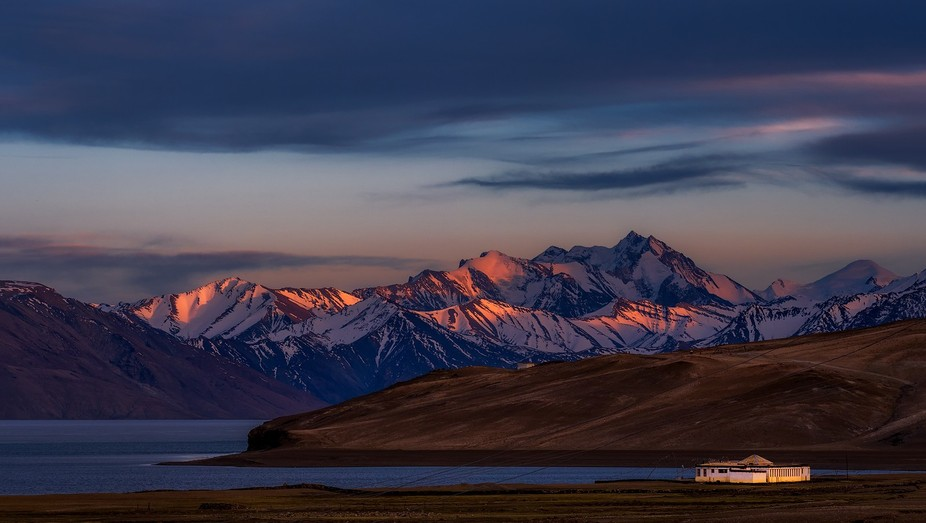 Beautiful sunset with its last ray shining on top of the mountain around Tso Moriri lake in Ladakh.