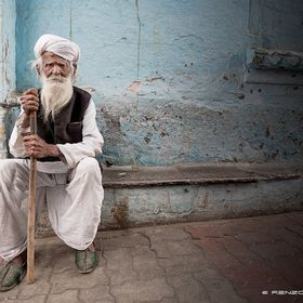 An old man in the city of Udaipur...India
