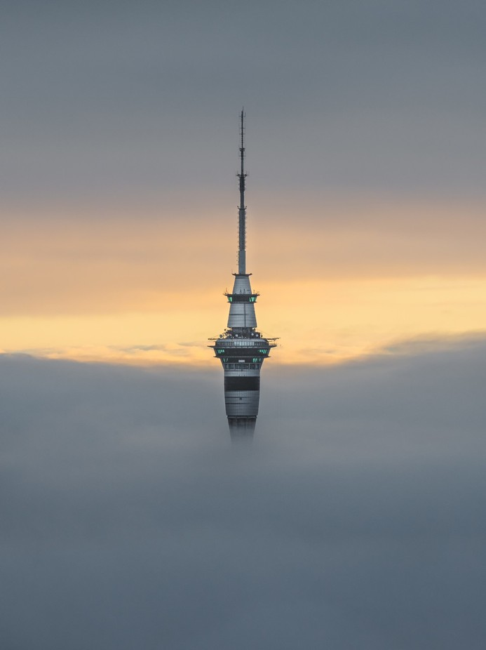 Sky Tower in the sea of fog by tomrexjessett - My Favorite City Photo Contest