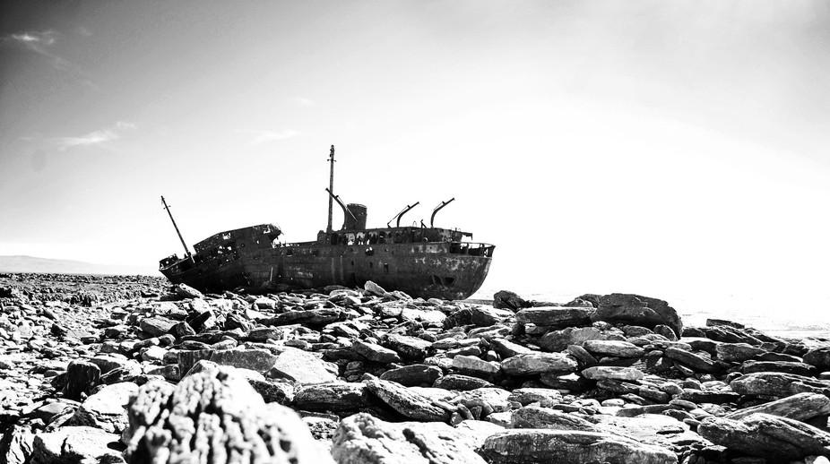 Shipwreck in the Skellig Islands, Ireland.