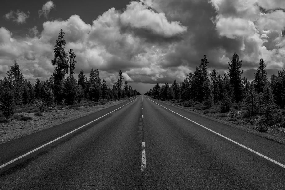 The long high desert roads of central Oregon.