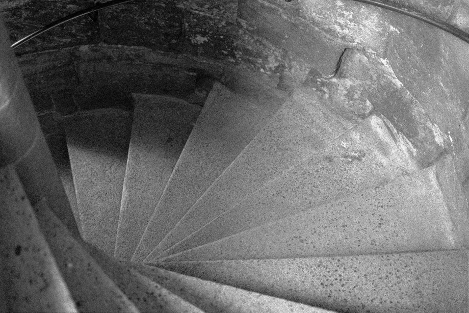 Dunstanburgh Castle Spiral stair B&W