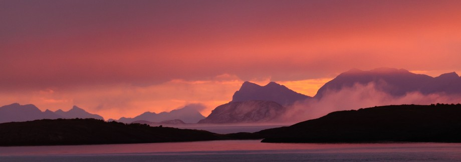 A magic sunrise on the Hurtiguten vessel MV Vesteralen heading south from Bodø