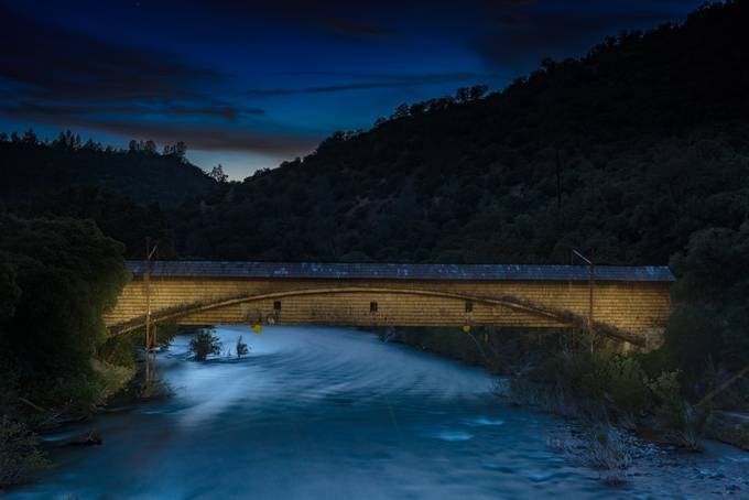Bridgeport Covered Bridge at Night by rhmimages - Bridges In The Night Photo Contest