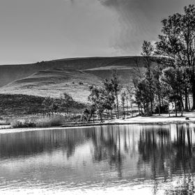Drakensberg Landscape  black and white
