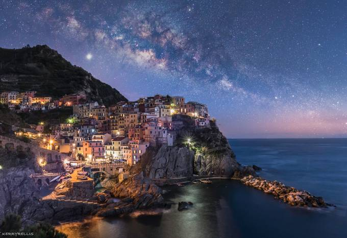 Manarola Milky Way 1 by kerryellis - City In The Night Photo Contest
