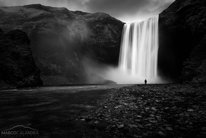 Alone in Skogafoss by marcocalandra89 - Black And White Landscapes Photo Contest