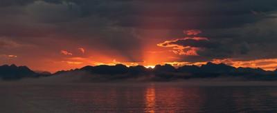 Hurtigruten sunrise south bound from Bodø