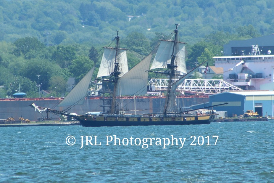 A 1812 war ship. This sits on Lake Erie. It was sailing on Memorial Day 2017.