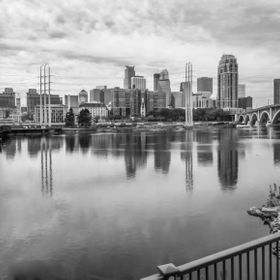 The Minneapolis skyline over the Mississippi River. The Third Avenue Bridge is on the right...