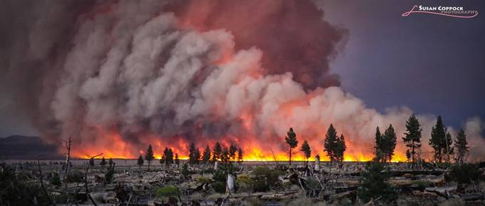 Mono Lake Forest Fire pano by Scopppock - Shooting Fire Photo Contest