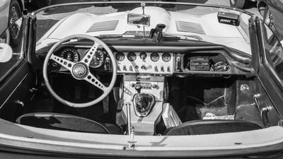 Interior of the E-type Jaguar Roadster