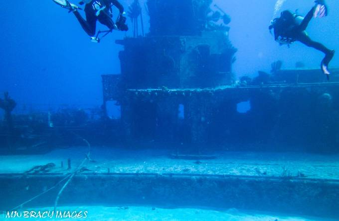 Seeing the wheelhouse of the 300 foot, purposely sunk Russian frigate for the first time