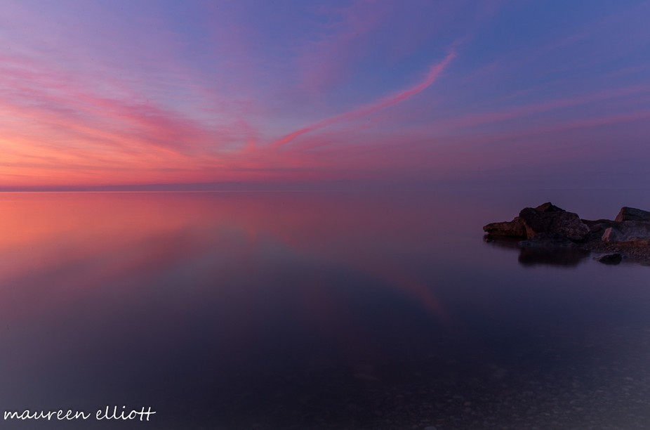 A view over Lake Erie before the sunrise.
