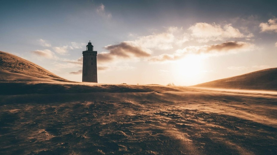 This is from the north of Denmark. A lighthouse that is no longer in use, stands tall in solitude...