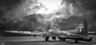 B17 Flying Fortress in Black and White