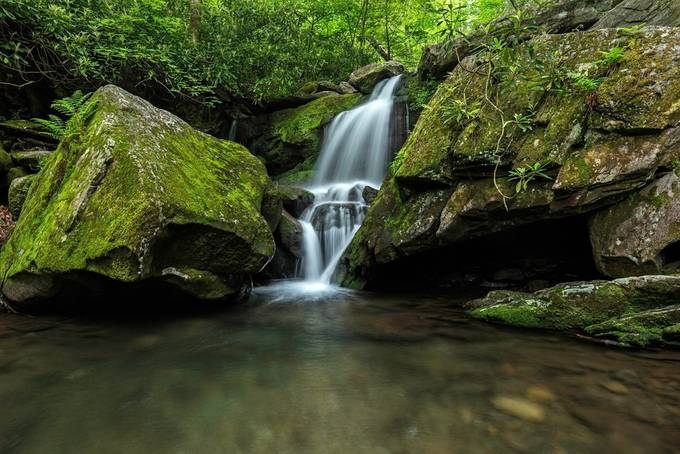 grotto falls lower by LeviLangerakPhotography - Boulders And Rocks Photo Contest