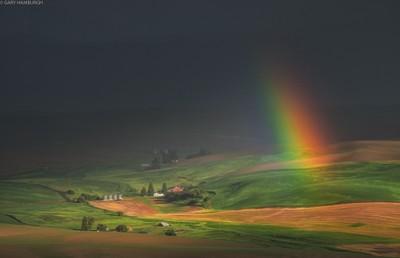 _6010435 Rainbow Looks Down on  Farm