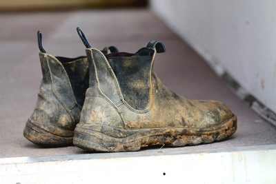 Muddy old boots