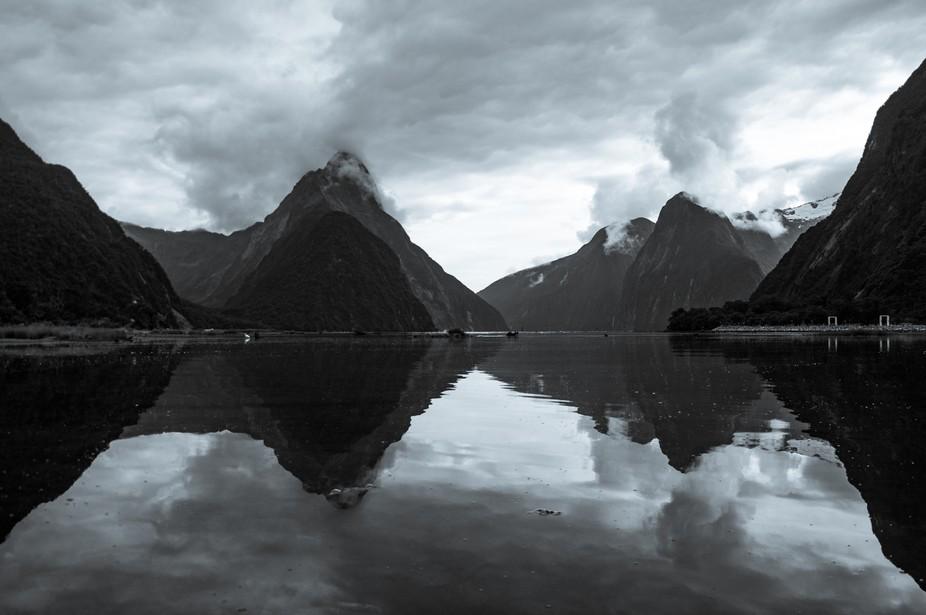 A shot of gloomy Milford Sound, NZ.