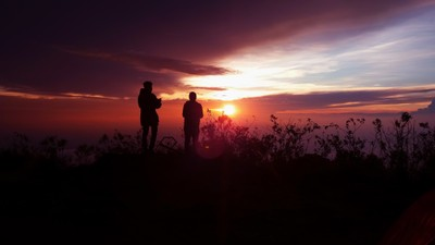 sunset silhouette 3214 meter above sea level
