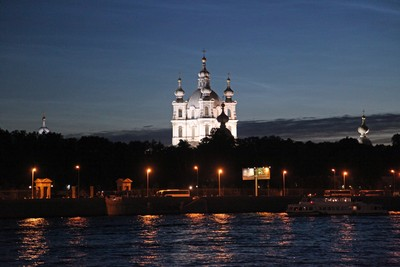 Smolny Cathedral in 2 hours after midnight. Saint-Petersburg.