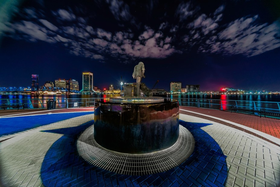 Lone Sailor Memorial on Jacksonville Florida's south bank river walk looking at downtown...