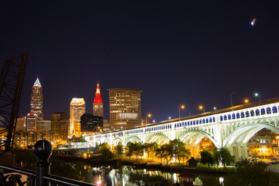 "A nightime walk on the Superior Viaduct in Cleveland. Overhead the Goodyear airship ""Wingfoot Two"" circles, providing aerial coverage for game three of the Cavs-Warriors NBA Finals."