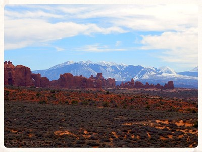 View of Lasalle Mountains from Arches National Park, March 2017