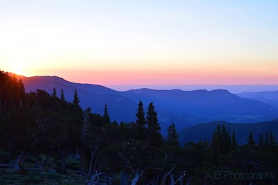 View from Mt Evans Rd, sunrise, July 4, 2016