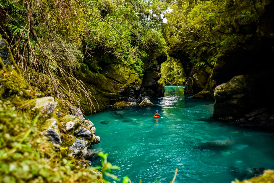 Paddling the Crooked River in New Zealand.