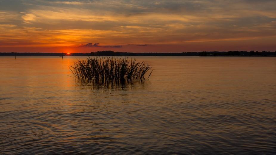 Sunset at Ross Barnette Reservoir upper lake off Highway 43 in Rankin County MS.