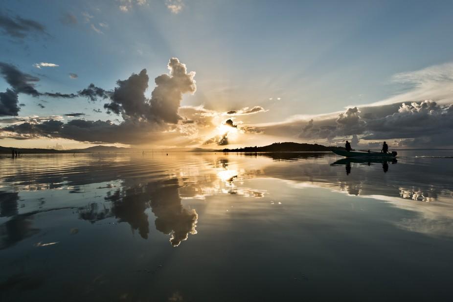 Fischermen at sunset