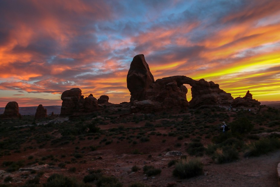 The sky of fire behind Turret Arch can't help but be beautiful.
