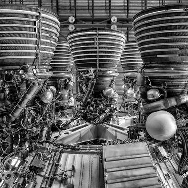 Stage 2 motors of a Saturn V rocket