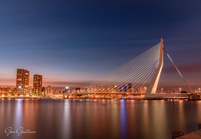 Erasmus bridge at dawn, Rotterdam, the Netherlands by geagaetanidaragona - Europe Photo Contest