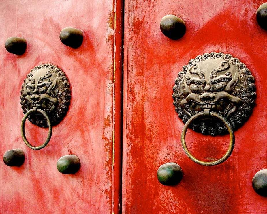 These are typical entry doors in the city of Xian, People's Republic of China. Typical t...